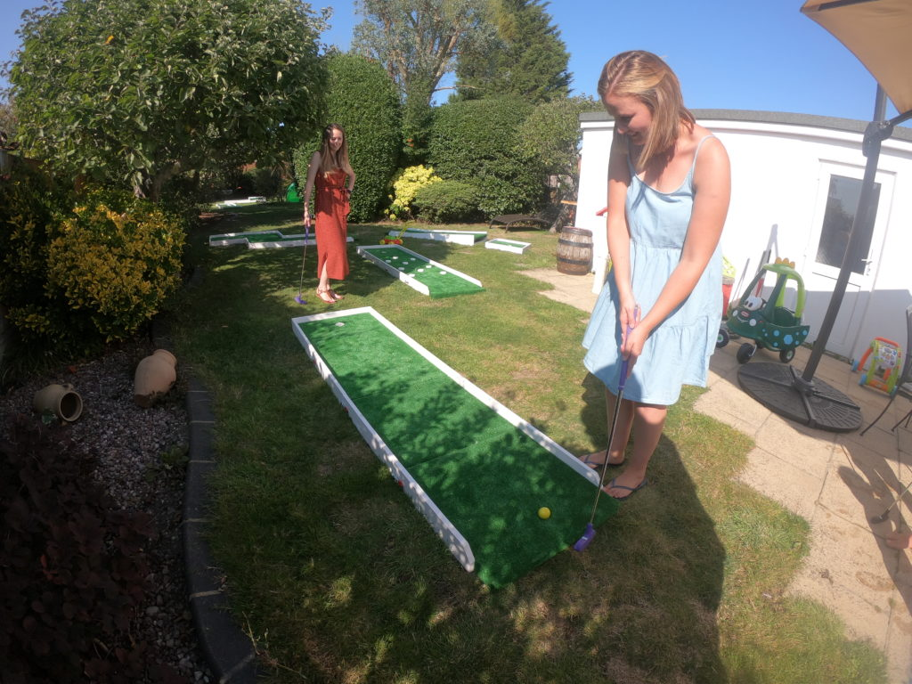 People Playing Portable Mini Golf Hire in Basildon